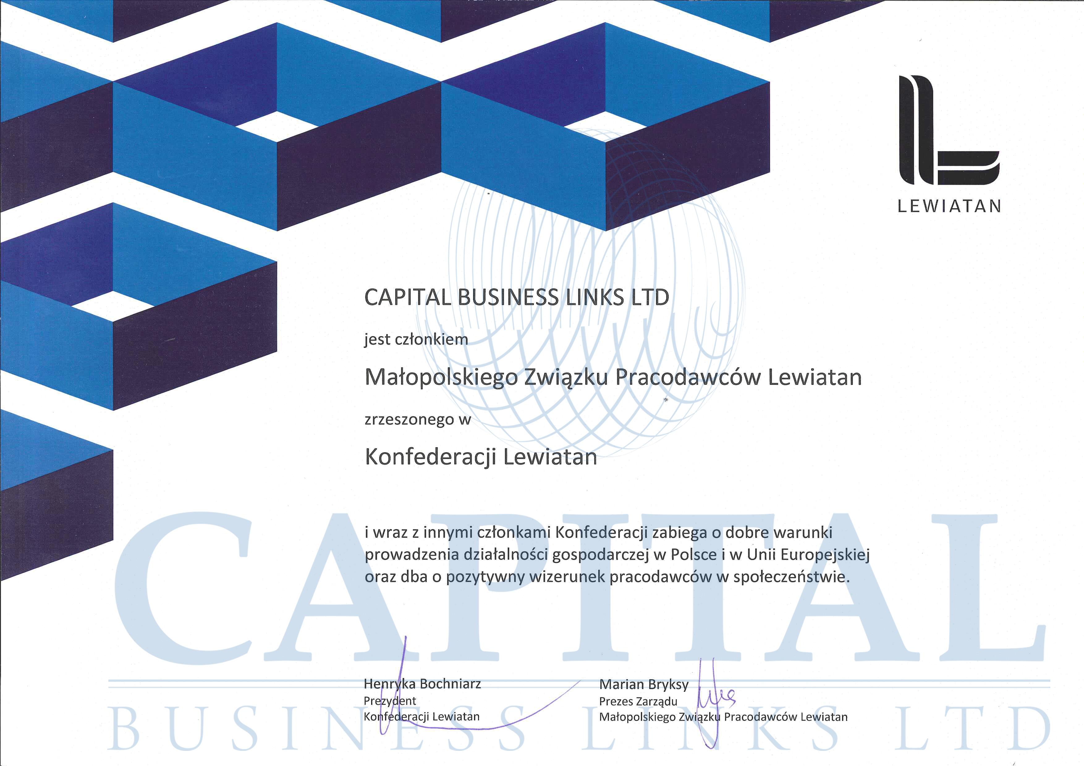 Malopolski Zwiazek Pracodawcow Lewiatan certyfikat